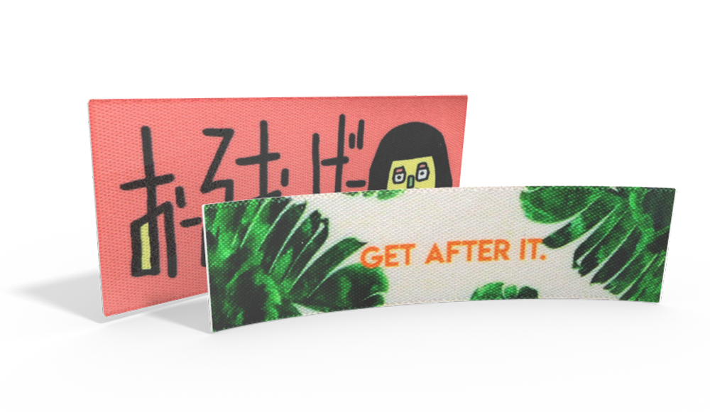 Bespoke Printed Satin Labels - upload your own logo or artwork